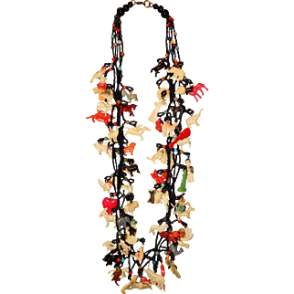 "Vintage 27"" Necklace with 65 Celluloid Charms"