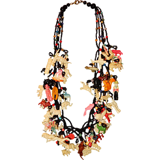 "Vintage 22"" Necklace with 65 Celluloid Charms"
