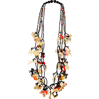 "Vintage 26"" Necklace with 55 Celluloid Charms"