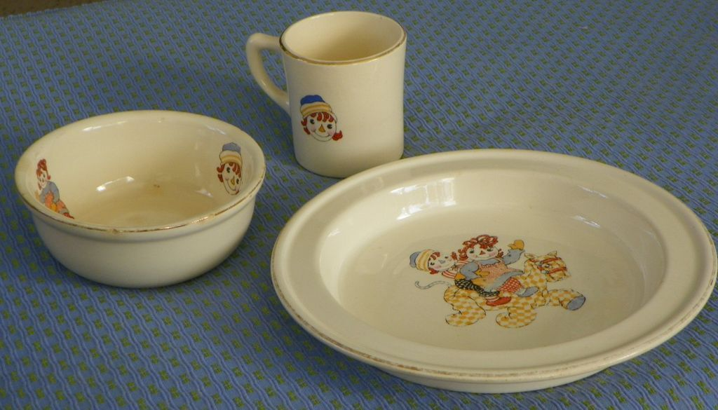 Raggedy Ann Amp Andy Pottery Set Plate Bowl Cup