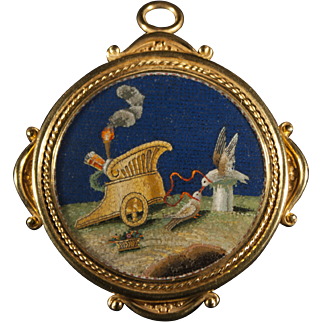 """Gold pendant & brooch with micromosaic """"allegory of Love"""""""