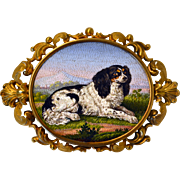 A cocker spaniel dog micromosaic brooch
