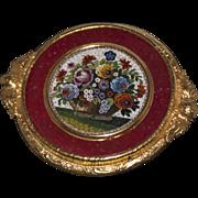 Flower's basket micromosaic brooch/pendant