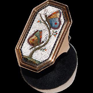 Georgian butterflies micromosaic ring