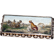 """""""Hen and roosters"""" micromosaic brooch"""