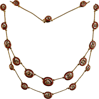 Georgian gold necklace with small micromosaics