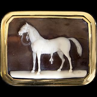 Mid 19th century Italian cameo of a horse signed Saulini