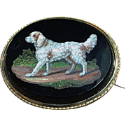 English Setter dog micromosaic brooch