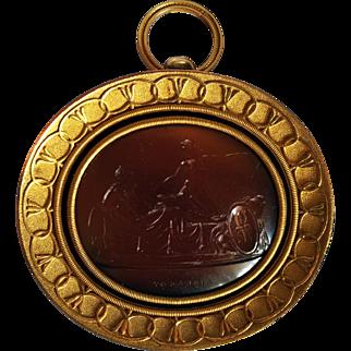 """Hector and Aeneas"" large italian carnelian intaglio Rome 1815 ca"