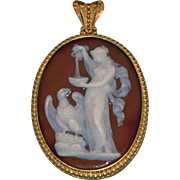 """Hebe and Zeus"" signed agate cameo"