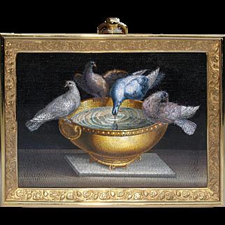 """""""Pliny's Doves"""" micromosaic plaque"""