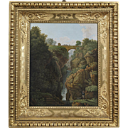 """""""Landscape with waterfall"""" Italian 19th cent. micromosaic panel"""