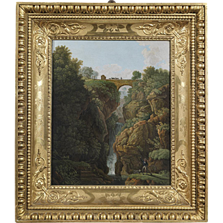 """Landscape with waterfall"" Italian 19th cent. micromosaic panel"