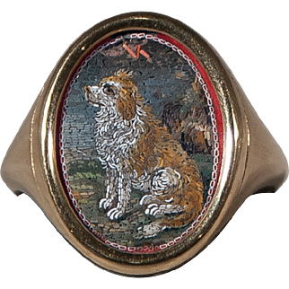 Ring with a micromosaic of a dog