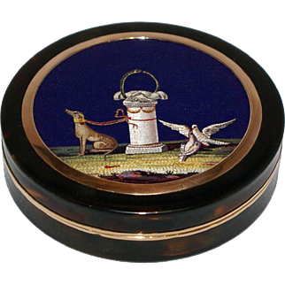 Symbols of love and friendship micromosaic snuff box