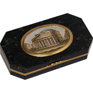 """The Pantheon"" oval micromosaic hardstone snuff box"