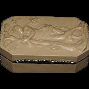 Very fine carved lava stone snuff box