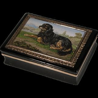 King Charles Spaniel micromosaic snuff box