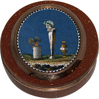 Herm, altar and urn mourning micromosaic snuff box