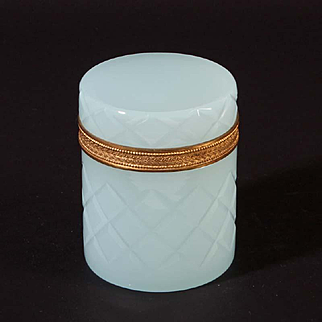 French opaline glass box round Vintage 1920ies. Color: light blue & gold.