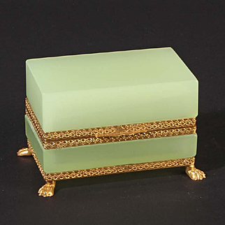 French opaline glass box rectangular with lion feet Vintage 1920ies. Color: lime (uranium) & gold.