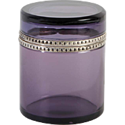 French glass box round Vintage 1920ies. Color: clear purple & silver.