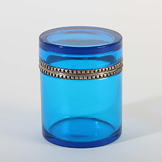 French glass box round Vintage 1920ies. Color: clear blue & silver.