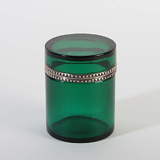 French glass box round Vintage 1920ies. Color: clear green & silver.