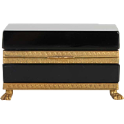 French opaline glass box rectangular with lion feet Vintage 1920ies. Color: black & gold.