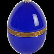 French opaline glass box egg shape Vintage 1920ies. Color: blue & gold.