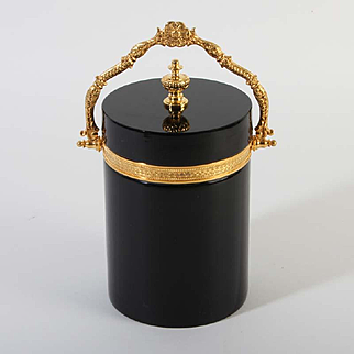 French opaline glass box round with handle Vintage 1920ies. Color: black & gold.