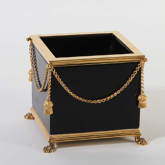 French opaline glass box square with lion feet Vintage 1920ies. Color: black & gold.