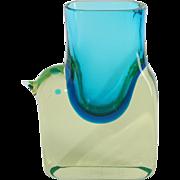 Cenedese 1965. Design: Antonio da Ros. Abstract petrol uranium glass bird vase.
