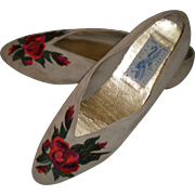 1980's Perry Ellis Gray Suede Floral Embroidered Flats - 9 1/2 B