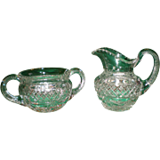 Antique Hawkes Cut Glass Creamer and Sugar - Signed