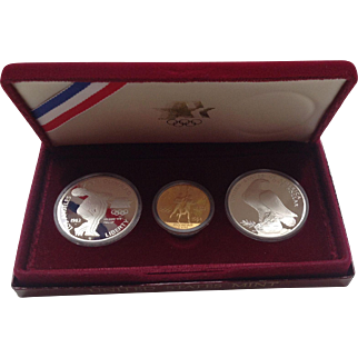 1983-1984 Olympic US Mint Uncirculated 3 Coin Proof Set $10 Gold $1 Silver
