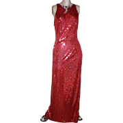 Cache Coutere Red Sequined Full Length Evening Dress