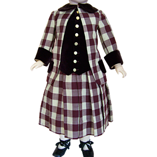 "Antique Doll Dress or Childs Dress - Very Desirable Plaid c1880s - Fits 35 - 36"" Tall Doll"