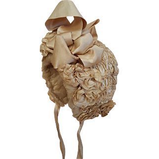 Elaborate Antique Bebe Bonnet with French Label