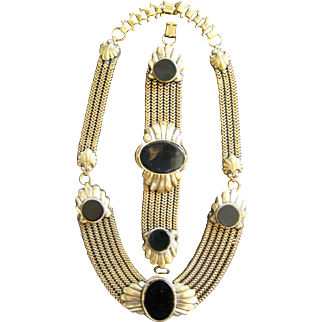 Vintage Art Deco Necklace - Bracelet - Brooch Set