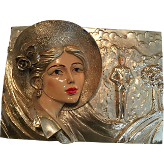 Very Unique, One of a Kind, Art Deco Lady .925 Silver Relief Plaque