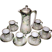 Beautiful Hand-Painted Floral RS Prussia, RS Germany Chocolate Pot Set, C.1900