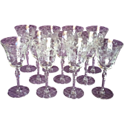 11 Vintage Seneca Lead Crystal Water Goblets in the Delightful Wheel-cut Daisy Design