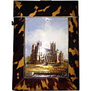 Canterbury Cathedral Shell Calling Card Case, c.1850, with Rare Reverse Painted Glass Panel
