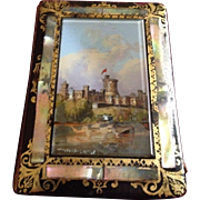 Early to Mid-1800's Black Lacquered Card Case or Dance Card Case with Reverse Painted Windsor Castle