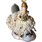 Antique Dresden (Unter Weiss Bach) Porcelain Lady in a Chair Holding a Bouquet with a Cat at Her Feet, c.1895