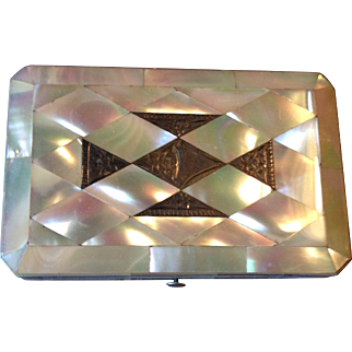 Outstanding mid-1800s MOP/Sterling Calling Card Case