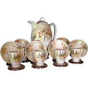 Outstanding MZ Austria Floral Chocolate Pot Set, c.1905 - Red Tag Sale Item