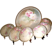 Beautiful Marked JSV Germany (RS Prussia-related) Master Berry Bowl Set, c.1900