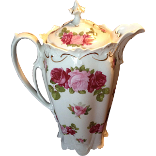 Wonderful MZ Austria Pink and Red Rose Chocolate Pot, c.1905